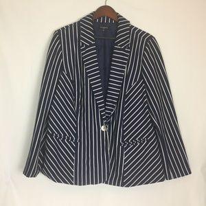 Navy white strip 1 button blazer size 3x